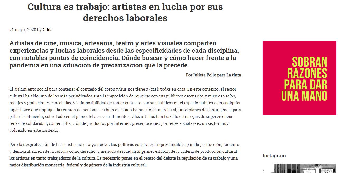 Cultura es trabajo: artistas en lucha por sus derechos laborales