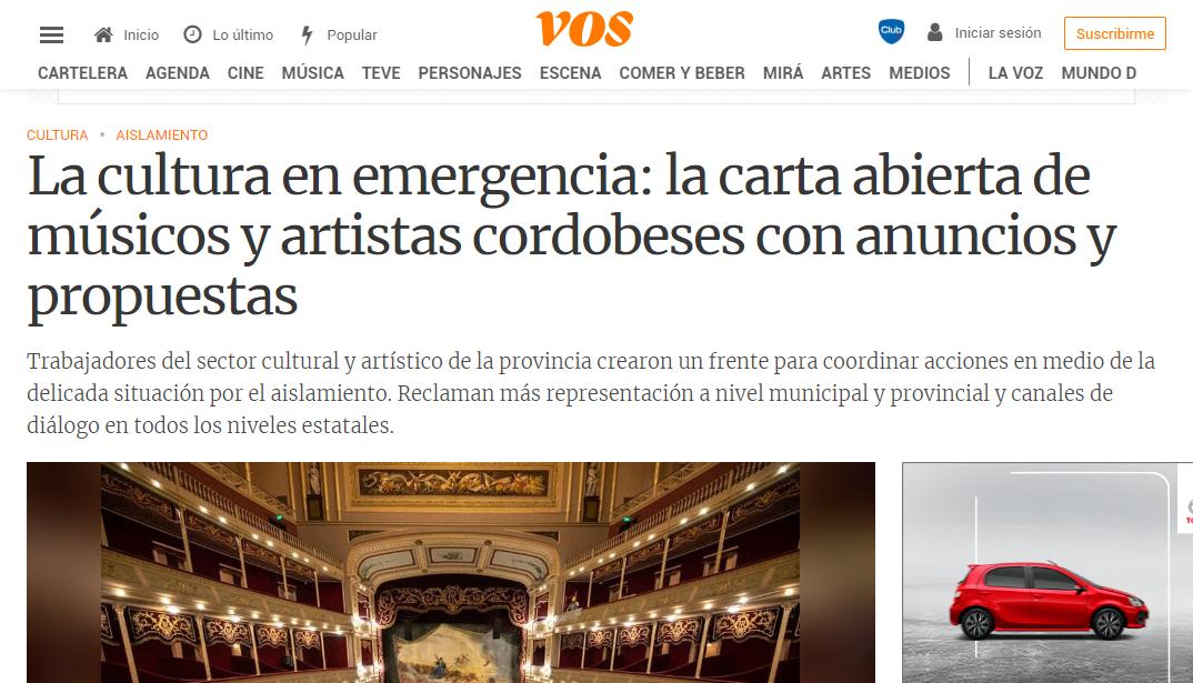 """""""La cultura en emergencia"""" en el Suplemento """"VOS"""""""