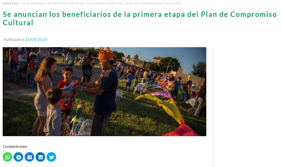 Se anuncian los beneficiarios de la primera etapa del Plan de Compromiso Cultural
