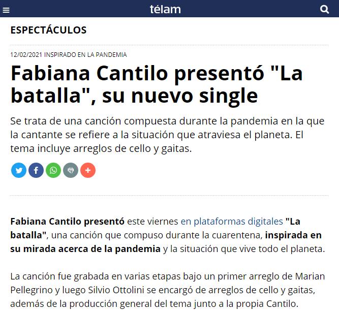 """Marian Pellegrino participando en el nuevo single de Fabiana Cantilo """"La batalla""""."""
